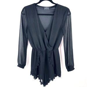 ASTR Black Sheer Romper Long Sleeve Lace Trim